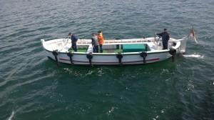 Denna typ av båt tog oss iland på Helogoand