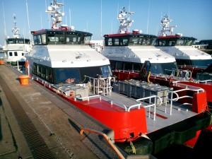 Båtar tillhörande ett vindkraftvetkprojekt uanför Helgoland